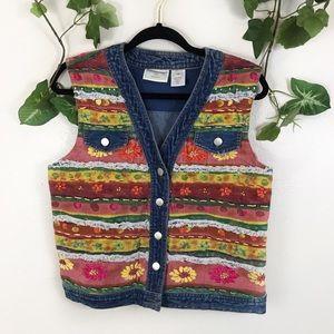 1999 Vintage Denim Jacket Vest Floral Embroidered